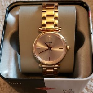 Fossil carbon series 3 hand rose gold tone watch